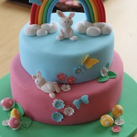 Rainbow & Bunnies Cake Elisa Strauss' Vanilla cake layers with vanilla swiss meringue buttercream. All decorations made of fondant with a little tylose added...