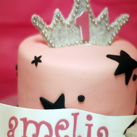"Princess Cake small 5"" personal cake for a 1st birthday. edible tiara."