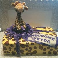 Giraffe Cake The grandmother to be wanted me to incorperate the stuffed giraffe into the cake...