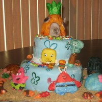 Sponge Bob And Friends Entirely editable pineapple cake with blue MM Fondant. All friends , houses , and shells were hand made and designed by my 13 & 14 yr....