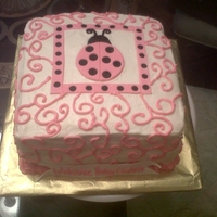 Ladybug Baby Girl Baby Shower Cake French vanilla, buttercream and fondant