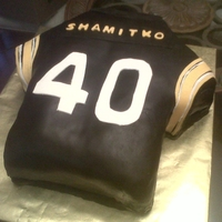 Steelers Jersey For 40Th Birthday This cake was ordered for a huge STEELERS fan. Homemade fondant for black - letters hand cut (and numbers).