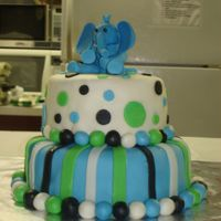 Elephant Baby Shower Cake this is a two tier cake...top smaller layer was yellow with white chocolate cream and strawberry filling...bottom was chocolate with the...