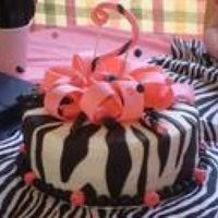Pink And Black Zebra Cake This was for a friend of mine's little girl that turned 2. THis was my first attempt at zebra stripes and I think that it turned of...