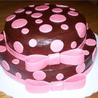 Brown & Pink Polka Dot Baby Shower Cake