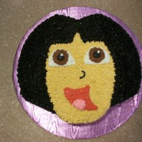 Dora Birthday Cake   cutout cake done in bc and choc bc