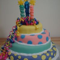 Polka Dots Cake This cake was for my daughters 21st birthday. I enjoyed doing this cake. It was bright and cheerful . I used fondant to decorate the cake...