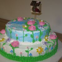 Day In The Park This cake is done in butter cream icing. It was for the 80th Birthday of a very special lady!!!!