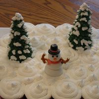 Winter Wonderland I made these cupcakes for a church holiday event. I used butter cream for the snow and trees. The trees were made with sugar cones and the...