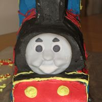 Front Of Thomas The Train Fondant face, buttercream train