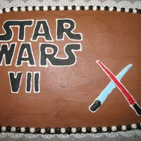 Star Wars Cake Chocolate cake with chocolate frosting and FBCT lettering.