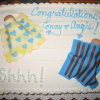 Baby Shower Cake With Fondant Blankets And Baby