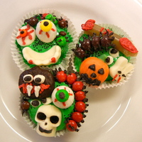 Icky Halloween Cupcakes toppers made with candy and candy melts mostly...!