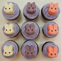 Bunny Topped Cupcakes bunnies made from candy melt and a bunny shapped ice cube tray