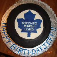 Toronto Maple Leafs Puck Cake   All buttercream. FBCT logo
