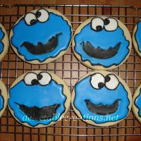 Cookie Monster Cookies   First attempt at character cookies. Iced with royal icing.