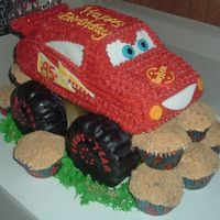 Monster Truck Combination monster truck and lightening mcqueen;-) with rock (boulder) cupcakes;-)