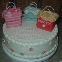 Shopping! Shopping cake;-) The bags are rice krispies covered in fondant and it is an icecream cake;-)
