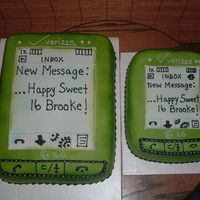 "Lime Green ""dare"" Cell Phone Cakes Request for a lime green dare cell phone cake and a request for an identicle mini one;-) Hope they like them;-)"