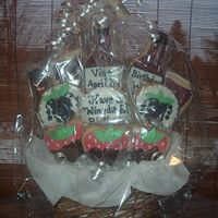 "Wine Cookies ""Have a wine~derful Birthday"" cookie basket;-) Sugar cookies with mmf and royal icing;-)"