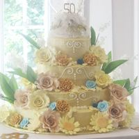 Love Is In The Air This is a four tiered white cake with alternating orange and strawberry fillings. The cake is covered in buttercream and decorated with...