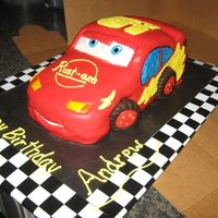 "Lightning Mcqueen This was for an 8 year old boy's birthday. Lightning McQueen (from Disney's ""Cars"") was a yellow cake with my special..."