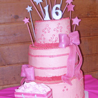 Victoria's Secret Sweet 16 Stars, Bows, and Victoria's Secret bag all made of fondant. Buttercream icing