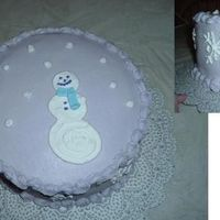 My First Winter-Themed Cake Snowman and snowflakes in RI