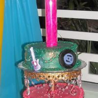 Mardi Gras & Music  I made this cake for a 15th birthday...my client couldn't decide whether she wanted a mardi gras party or an 80's music party so...