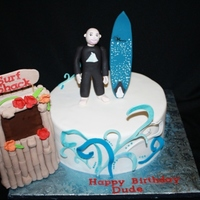 Surf Dude 60th bday. Both the board and the character made to look like the guest of honor. 1st time using cricut cake....used it for the waves, but...