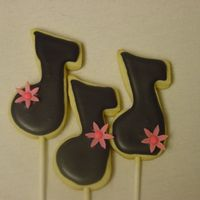 Music Notes With Flower Music notes with pink gumpaste flowers to be used in auction bouquet. NFSC with Antonia's RI.