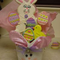 Easter Cookie Bouquet This is yet another bouquet I will be selling for my son's fundraiser. I will also be making one like it with blue ears.