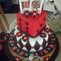 Gambling Bridal Shower Cake! I made this cake for a couple who loves to gamble. They were having a co-ed bridal shower. The cake is all chocolate and covered in Fondant...
