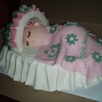Sleeping Baby! This is an oval cake with foam canopy covered in fondant. The baby is all cake covered in fondant.