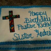 Pastors Birthday   This was for a neighbor. Last minute Birthday cake for her pastor. All BC. Cross made from colored piping gel.