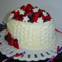 Red, White & Blue Fruit Basket   Last minute cake for 4th July party. Lemon with lemon curd filling and white choc butter cream.