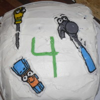 Son's 4Th Bday fbct of 3 of Handy Manny's tools, Chocolate with ganach filling. had another tool transfer but it broke when I tried to remove it,...