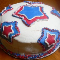Patriotic Cake Confetti Cake with buttercream. fondant accents, 3 color icing plug for piping.