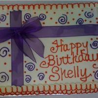 Purple & Red Birthday   Purple & Red Birthday cake. All BC. Real ribbon and bow added. :)
