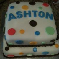 Polka Dot Baby Shower White cake covered in fondant with fondant name and polka dots.