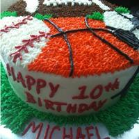 Sports Birthday Cake   Inspired from cakes on CC, All BC on round cake. Birthday boy loved it!!!