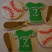 Birthday Baseball Cookies Made for my brother on his 39th birthday. He is now a little league coach, but his team when he was playing in little league (oh so long...