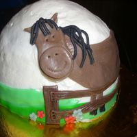 Smash Horse Cake Smash cake in buttercream with MMF accent pieces for my son's first birthday. This was so fun, for me and for the little cowboy.