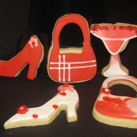 Ladies Night Out NFSC with MMF and royal icing. Love playing with the colors and patterns on shoes and purse cookies!