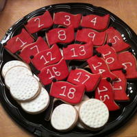 Platters Of Golf Cookies Lots of cookies for a charity benefit - decorated cookies are NFSC, MMF and Royal icing. Chocolate chip cookies and PB cookies (the PB...