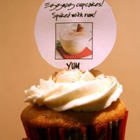 Spiked Eggnog Cupcake Eggnog cupcake with rum syrup and eggnog buttercream spiked with rum. Yay, rum!