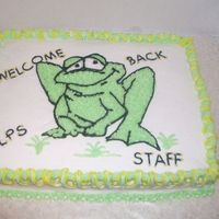Back To School Cake frog transfer. cake for the school where my mom works.tfl