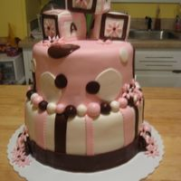 Pink & Brown Baby Shower Simple chocolate and white layers, fondant covered. Chocolate MMF & Satin Ice, RKT blocks. Not sure where my client got the photo,...