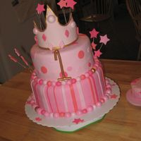 "Pink Princess Birthday 8"" & 10"" WASC w/ pink BC. Gumpaste crown & stars. Ball borders; in different shades/hues of pink. 1st b-day"