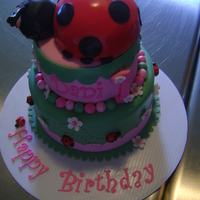 Ladybug 1St Birhtday Two tier, white with raspberry filling, hummingbird with cream cheese BC. Krispie treat ladybug topper. All fondant. Design mimics party...